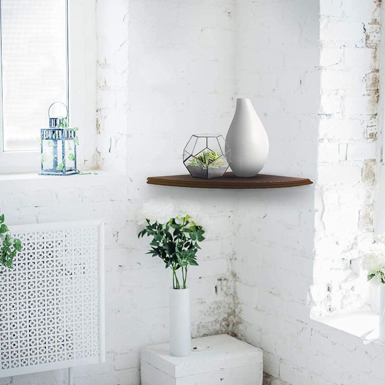 Halter Semi Circle Ledge Decorative Floating Wood Wall Shelves - Brown or White
