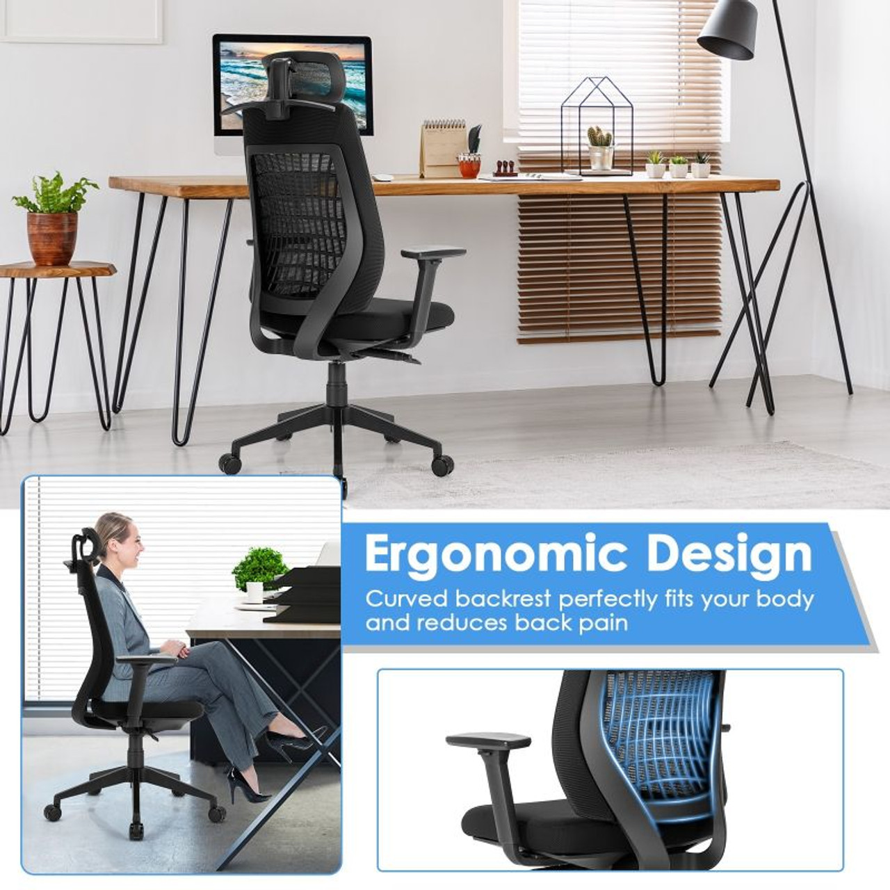 High Back Mesh Office Reclining Task Chair with Clothes Hanger