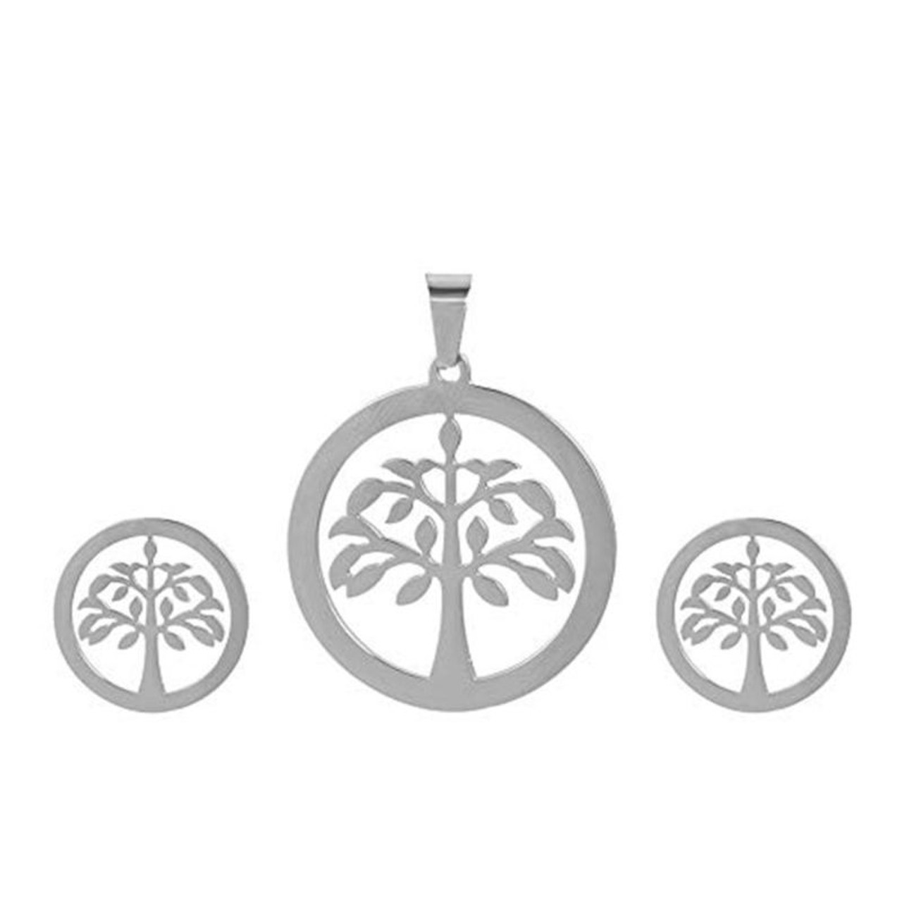 Charles Delon Women's Silver or Gold Tree Pendant and Earrings Set