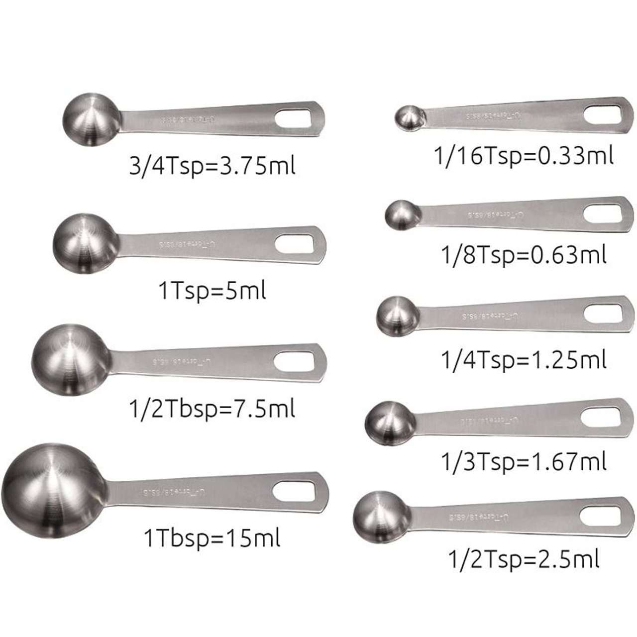 Stainless Steel Measuring Spoons - 9 Piece Set