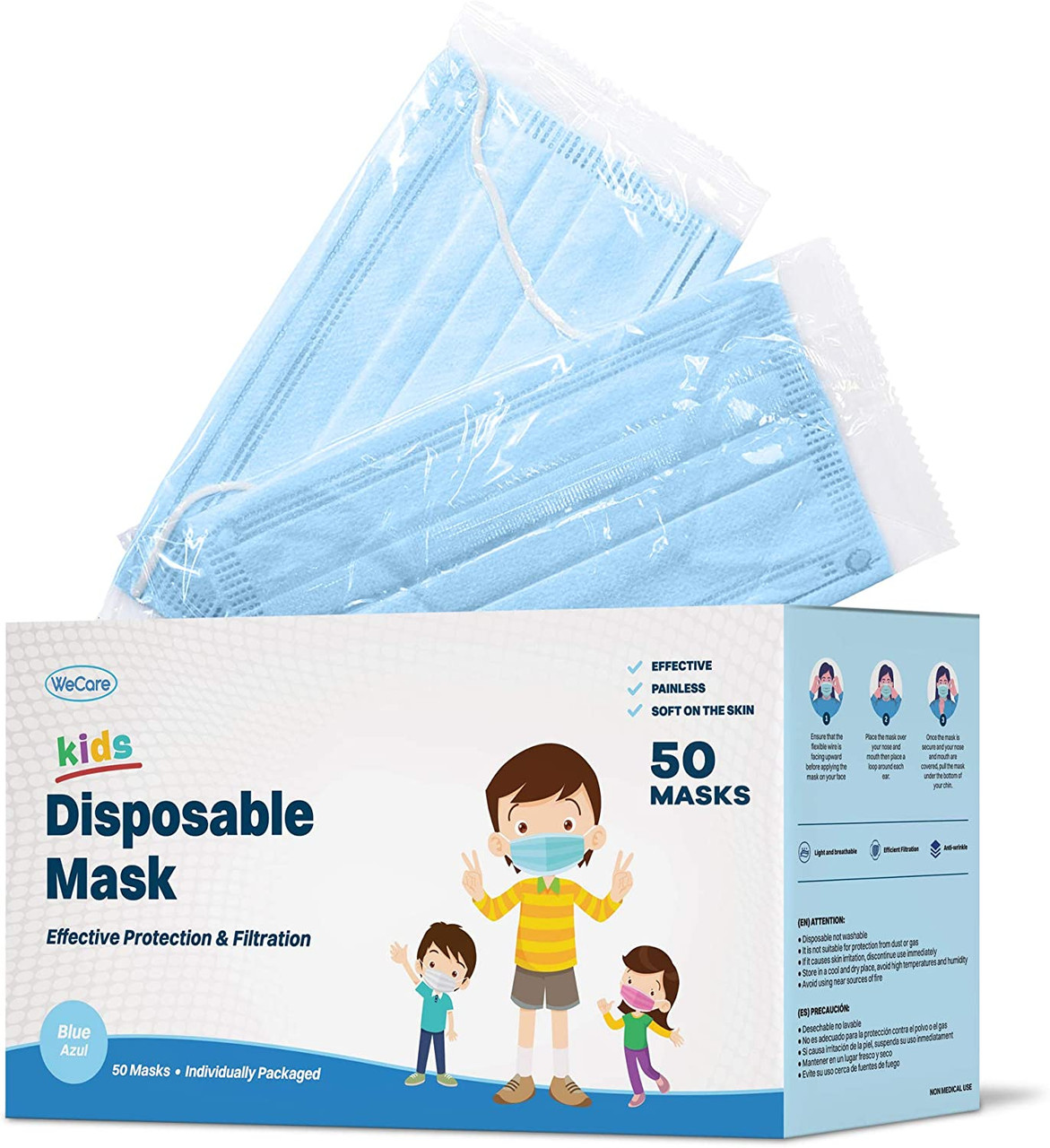 WeCare Individually Wrapped 3-Ply Color or Print Masks for Kids - 50 Pack