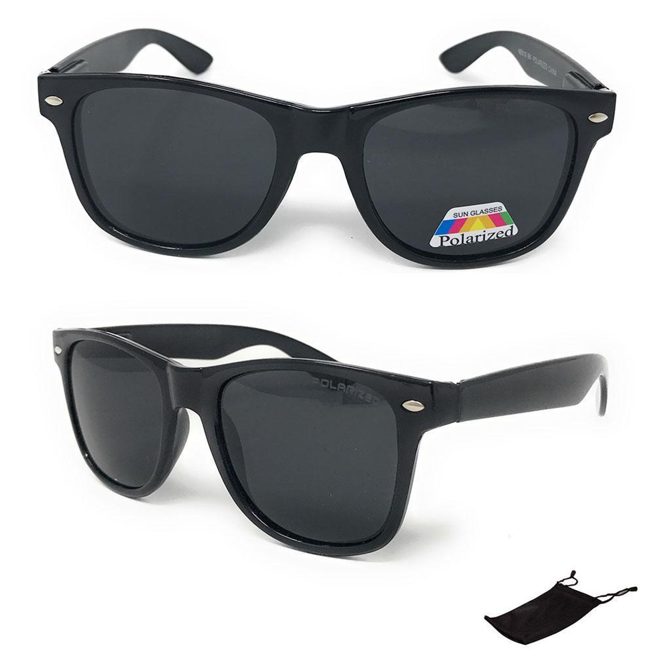Unisex Classic Black Polarized Sunglasses - Pouch Included