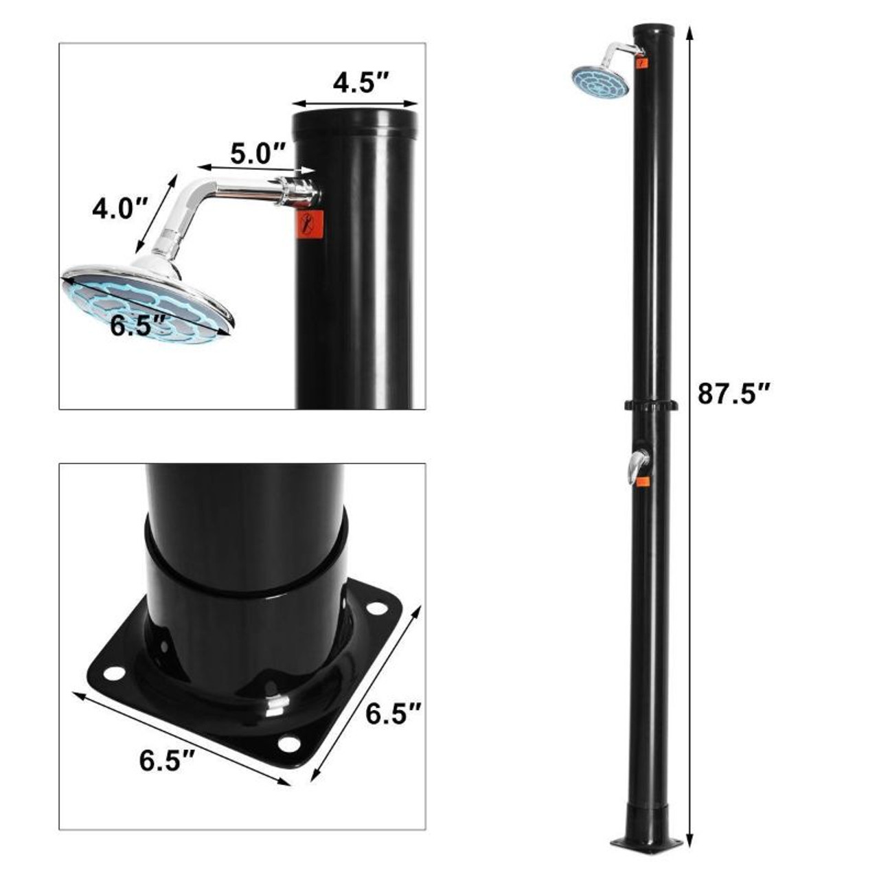 7.2 Foot Solar Heated Hot and Cold Shower Spa with Base - 5.5 Gallon