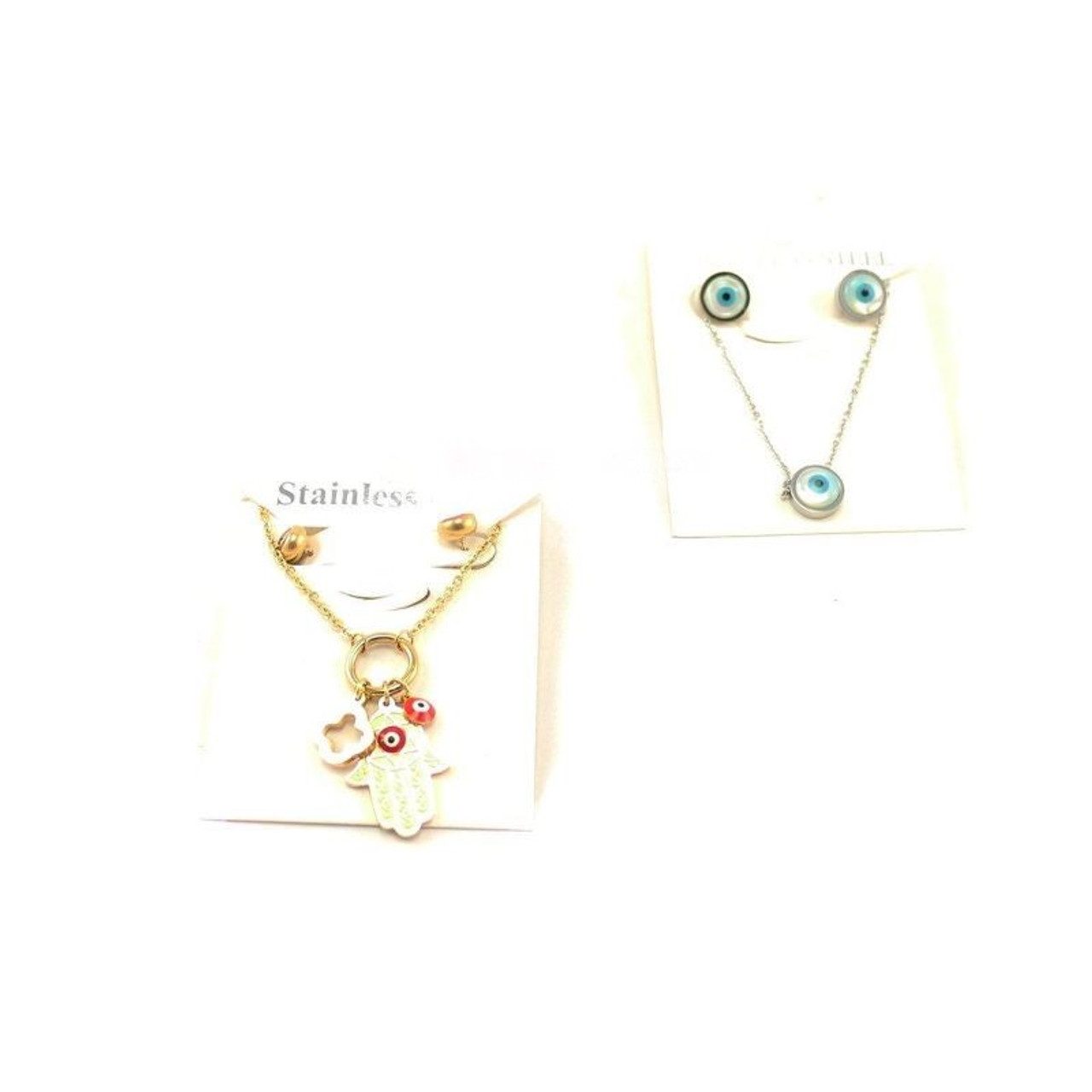 Evil Eye Necklace Chain with Stainless Steel Earrings