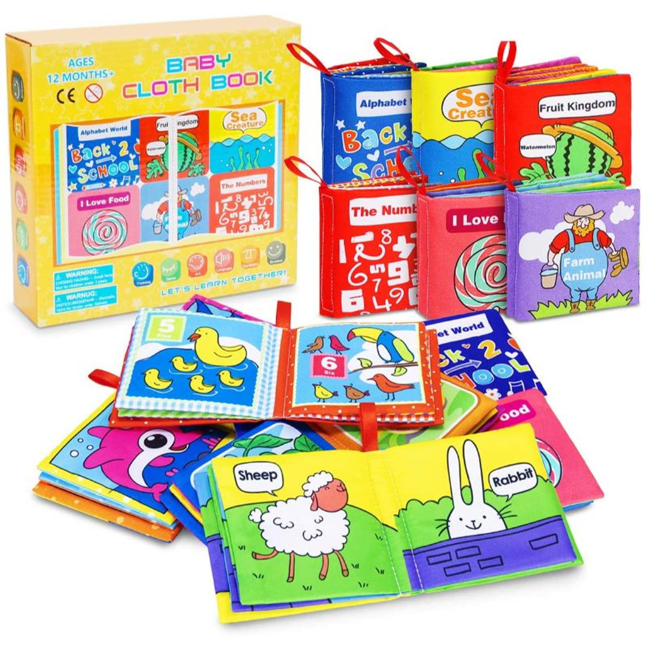 Baby Books Baby's First Soft Cloth Book Set Infant Children Educational Toys - 6 Pack