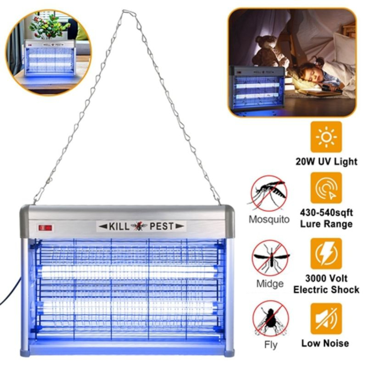 Electric Bug Zapper, Mosquito/Fly/Insect Killer, UV Light, 20W