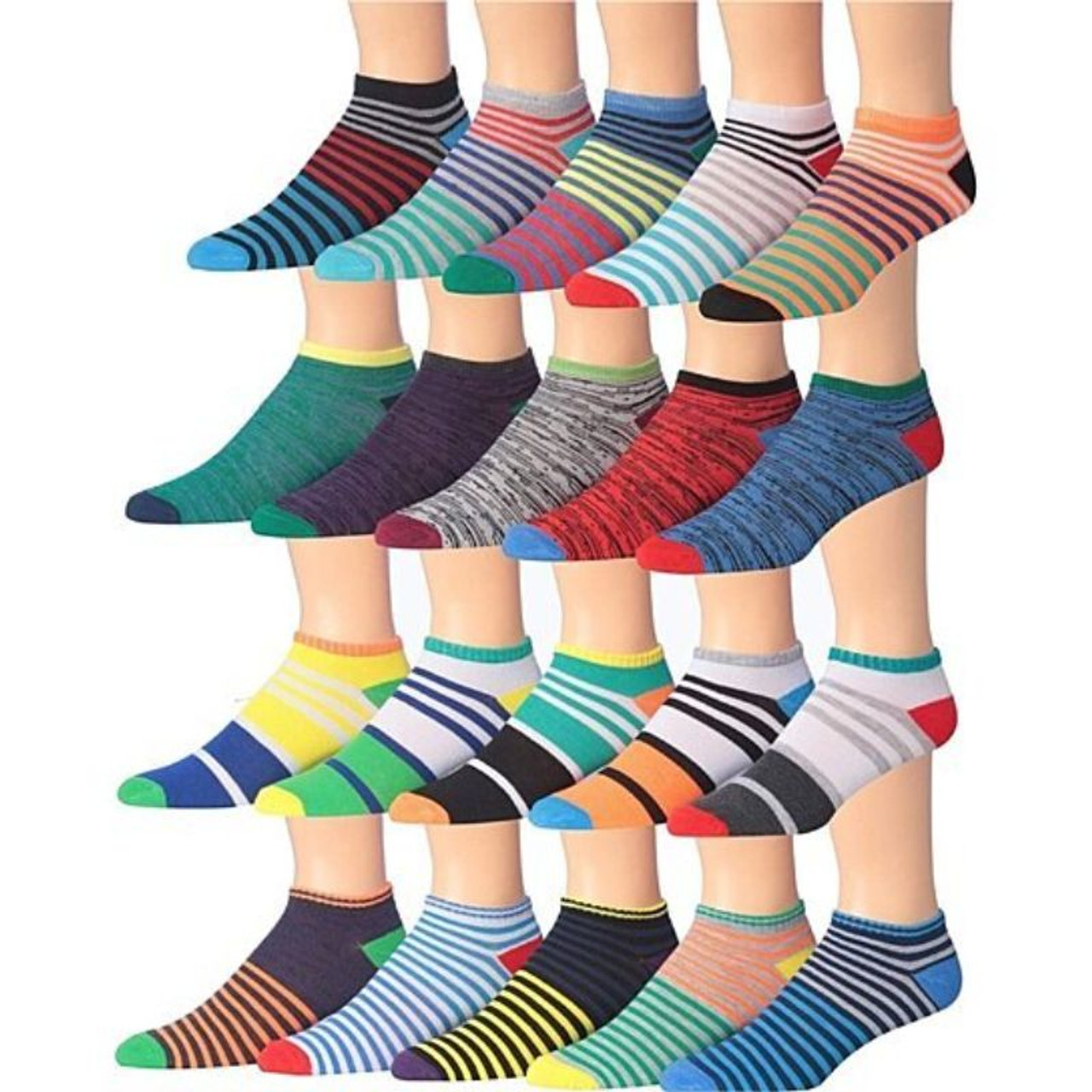 Men's James Fiallo Assorted Performance Low Cut Athletic Sport Socks - 30 Pairs