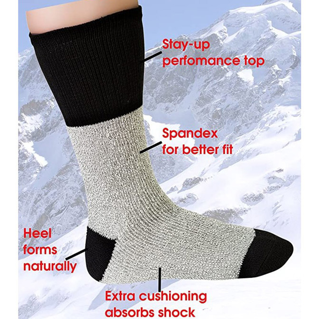 Mystery Deal: Men's Big and Tall Thermal Insulated Crew Socks - 12 Pairs
