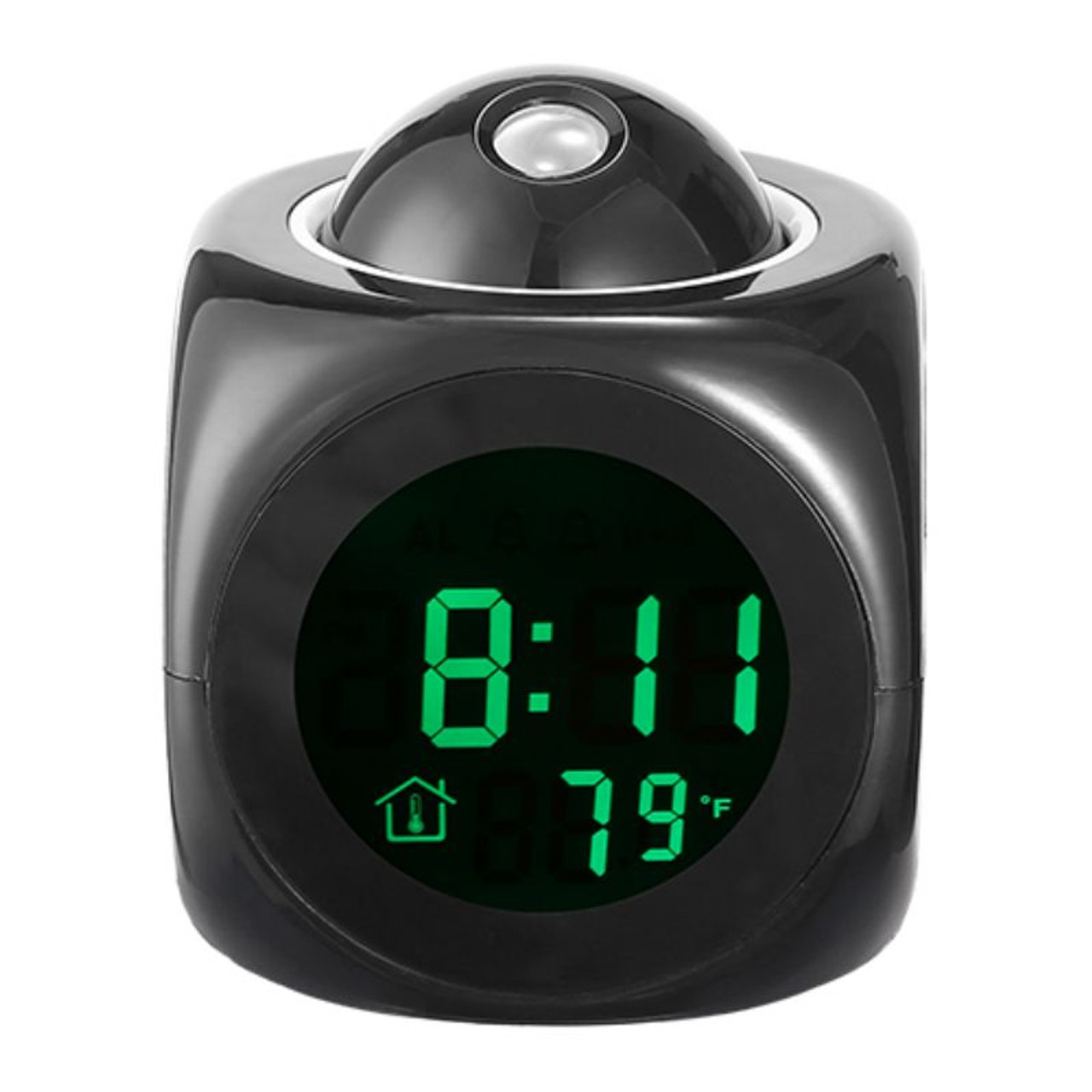 LCD Projection Alarm Clock, Battery Powered, Voice, Snooze, Temperature