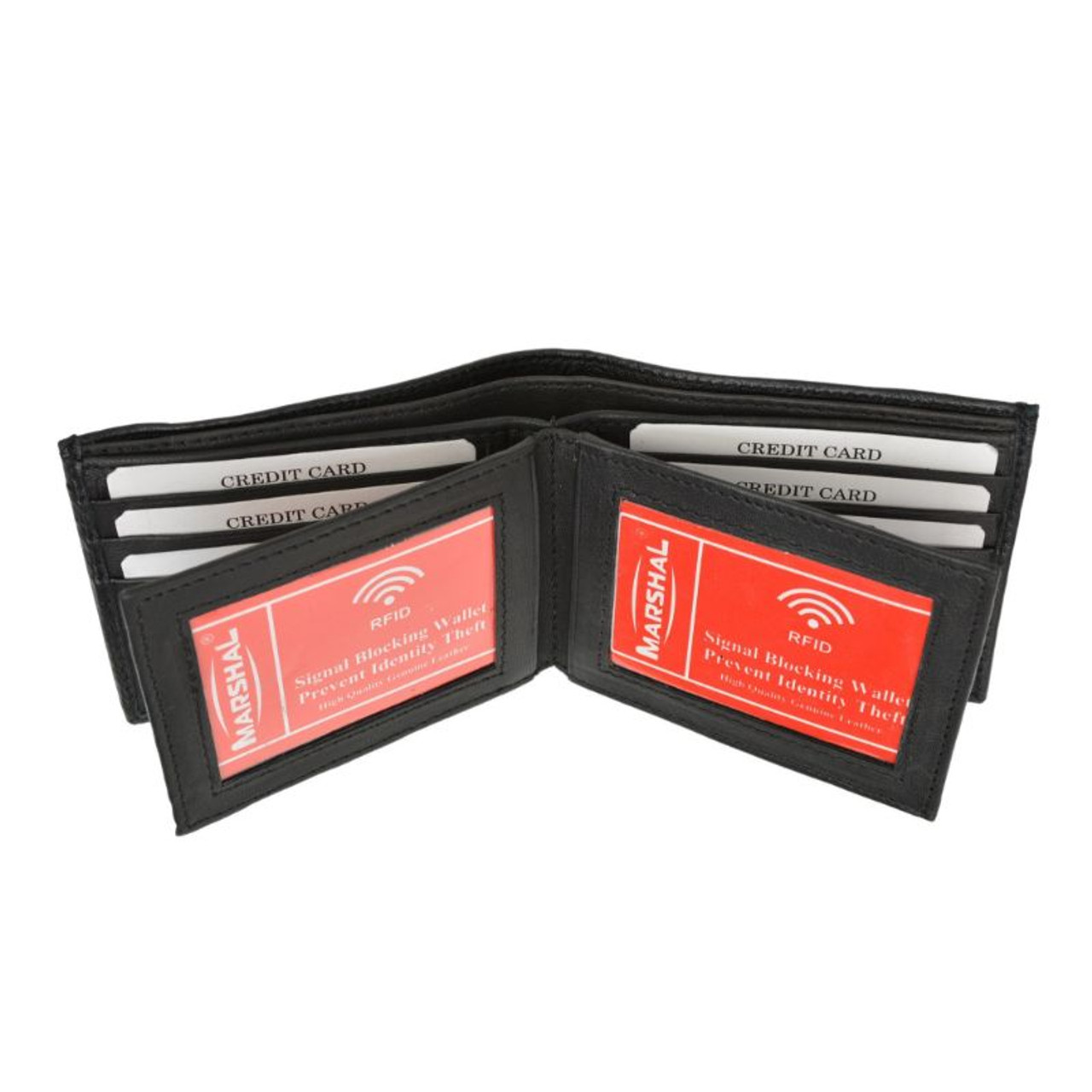 RFID Men's Black Leather Bifold Wallet with 3 ID Windows