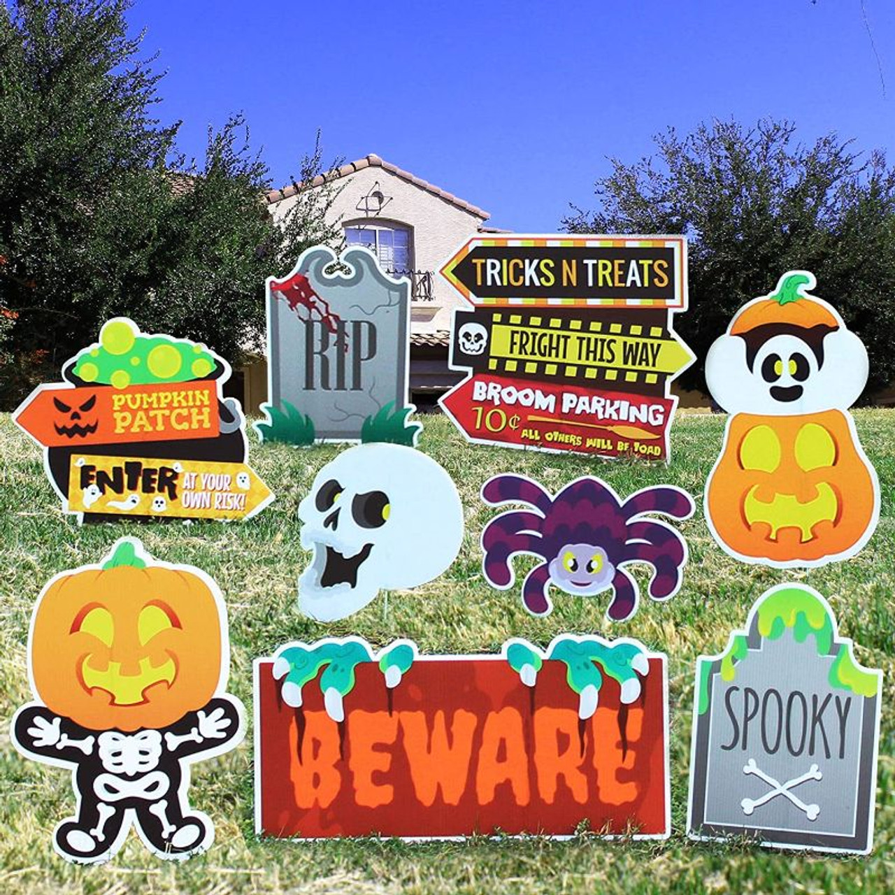 9 Friendly Halloween Decorations Corrugated Yard Stake Signs Décor