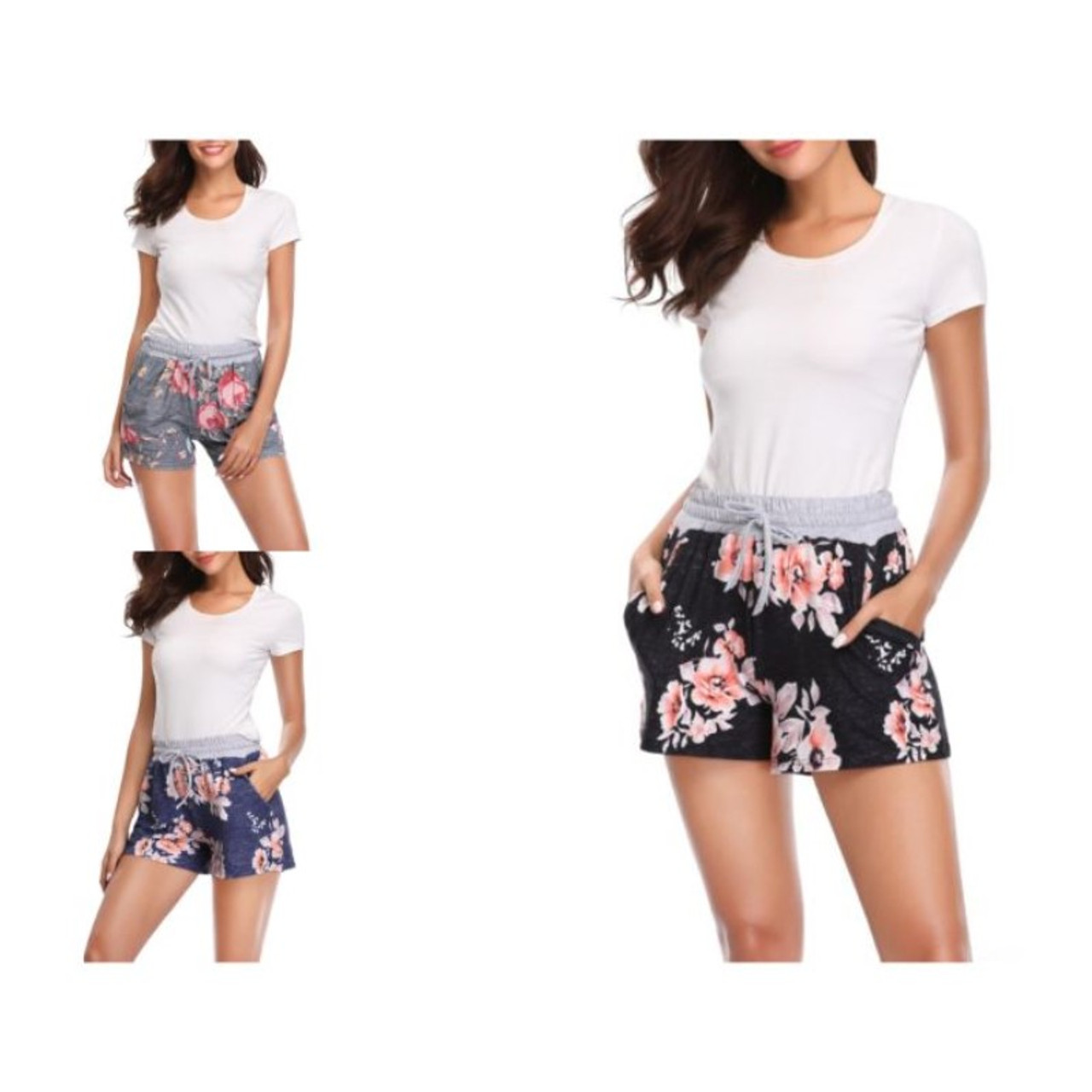 Women's Floral Drawstring Shorts with Grey Waist