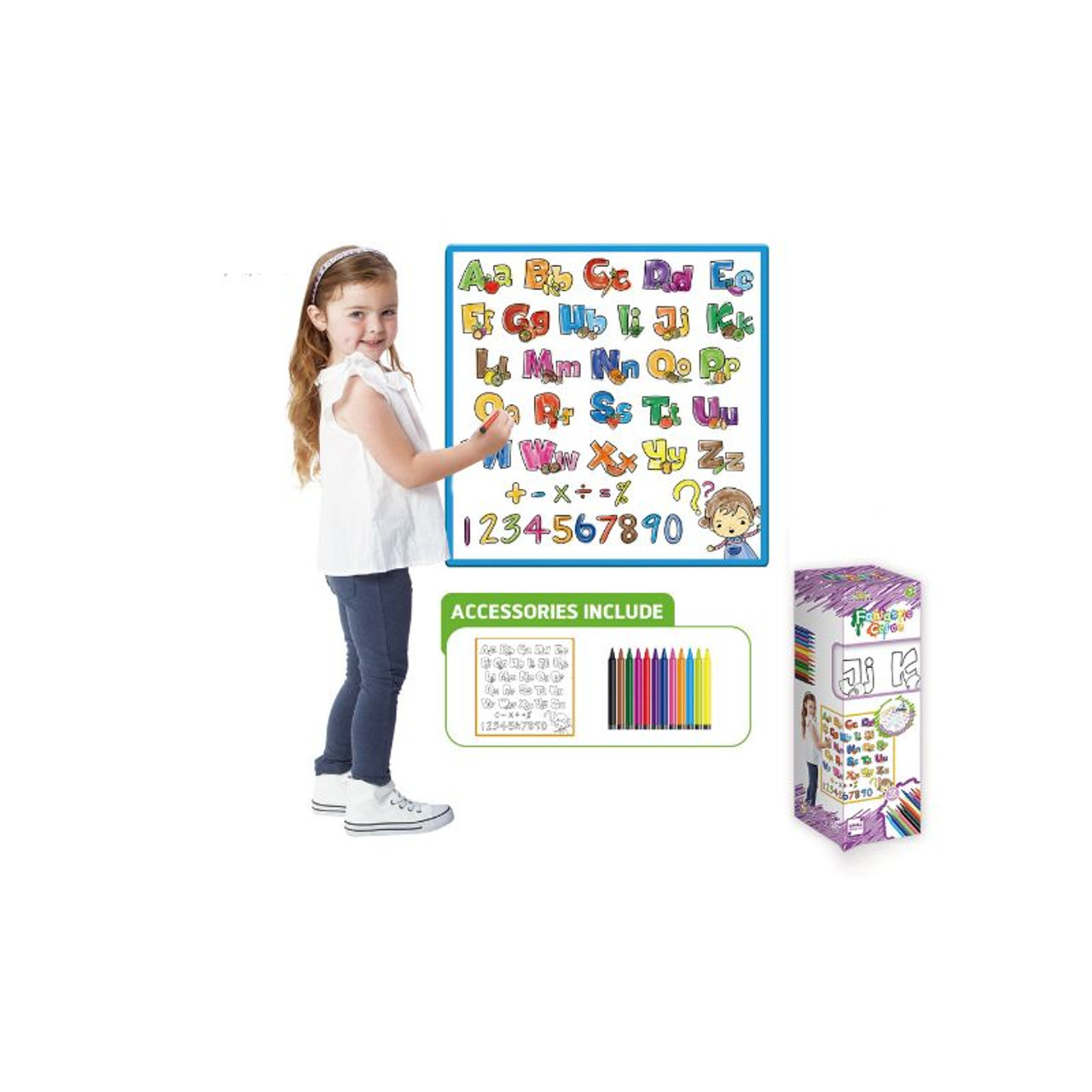 Kids Washable Coloring Play Mat with 12 Washable Markers