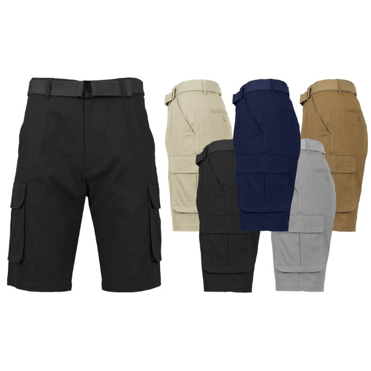 Men's Cotton Cargo Shorts with Belt - 2 Pack