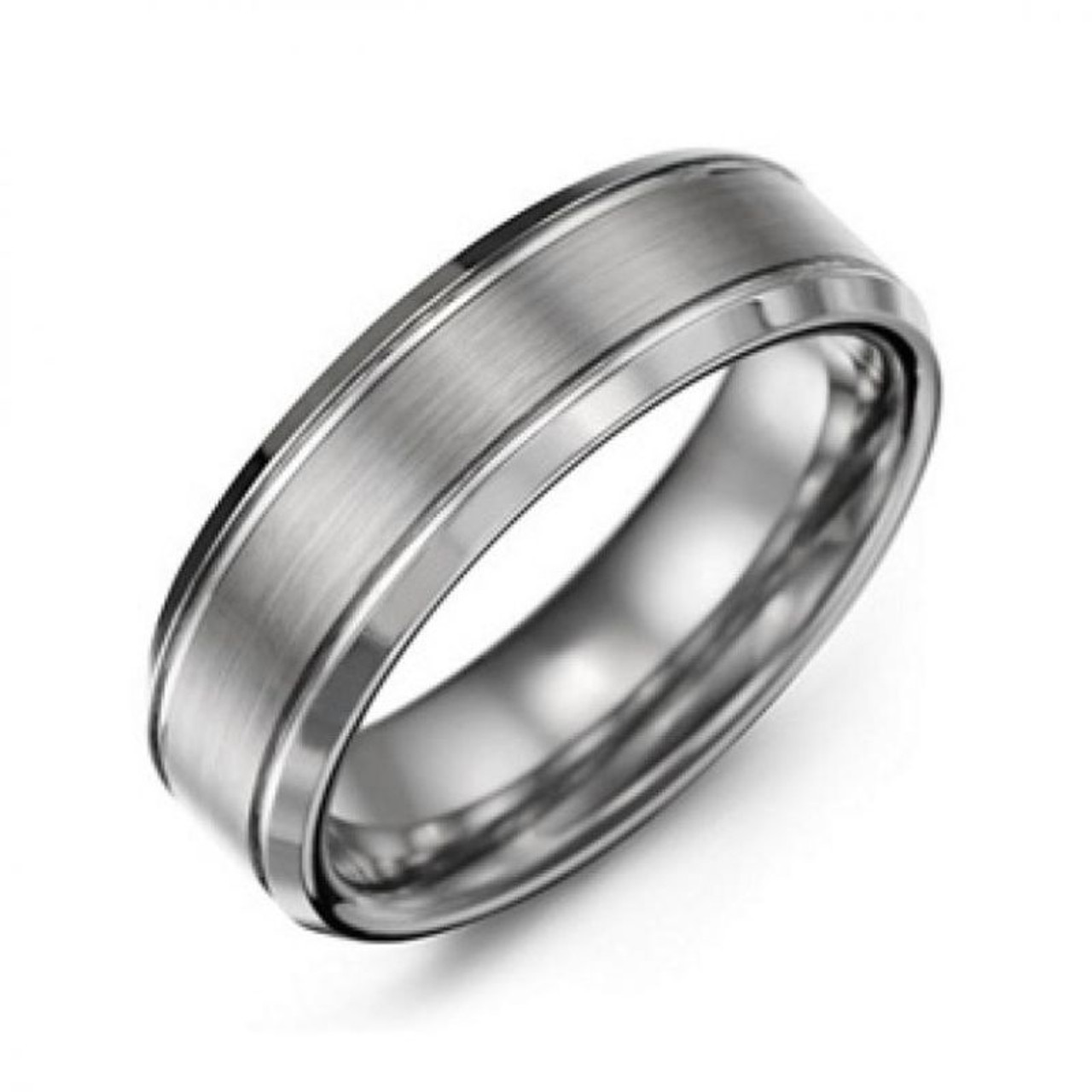 Men's Traditional Tungsten Ring with Brushed Satin Centerpiece