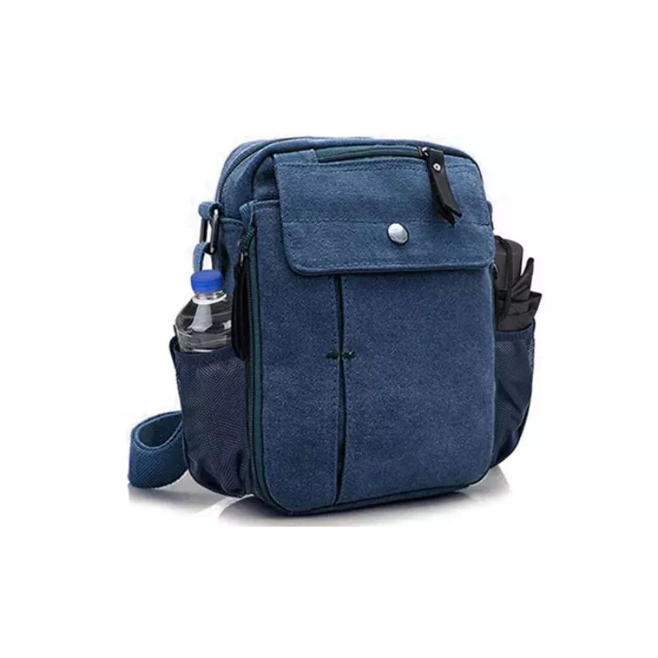 Multi-Functional Canvas Purse Bag with Bottle Holder - 5 Colors