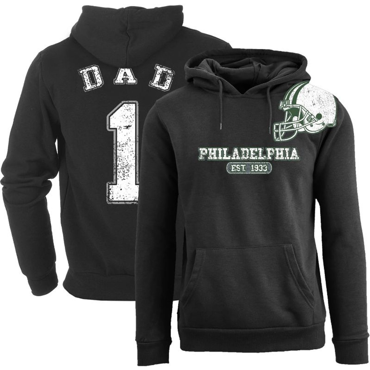 Cotton Thugs Men's Dad #1 Awesome Football Helmet Pull Over Hoodie