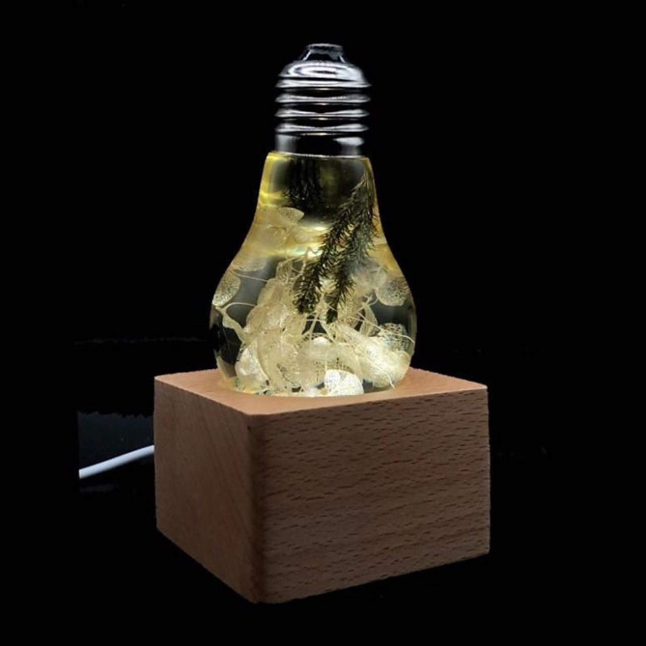 EP Light Yellow Hydrangea Flower Bulb Art Fixture Lamp with Optional Modern or Vintage Base Stand