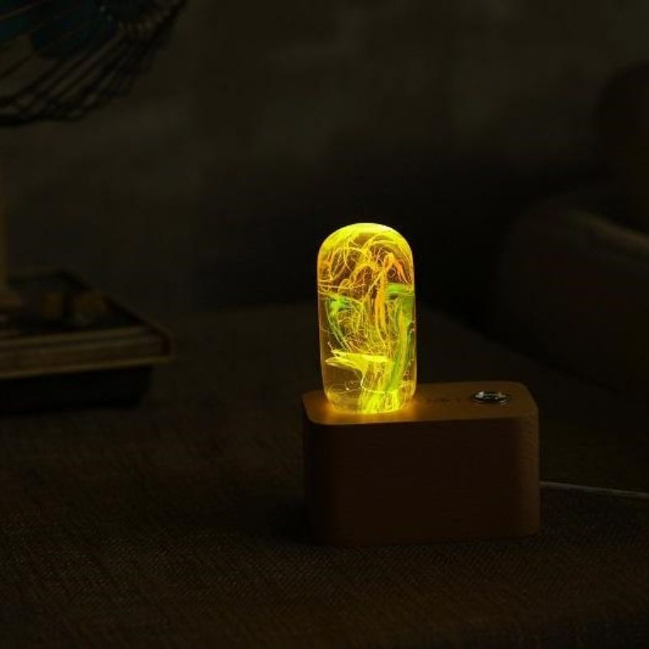 EP Light Time Orange and Green Bulb Art Fixture Lamp with Optional Modern or Vintage Base Stand