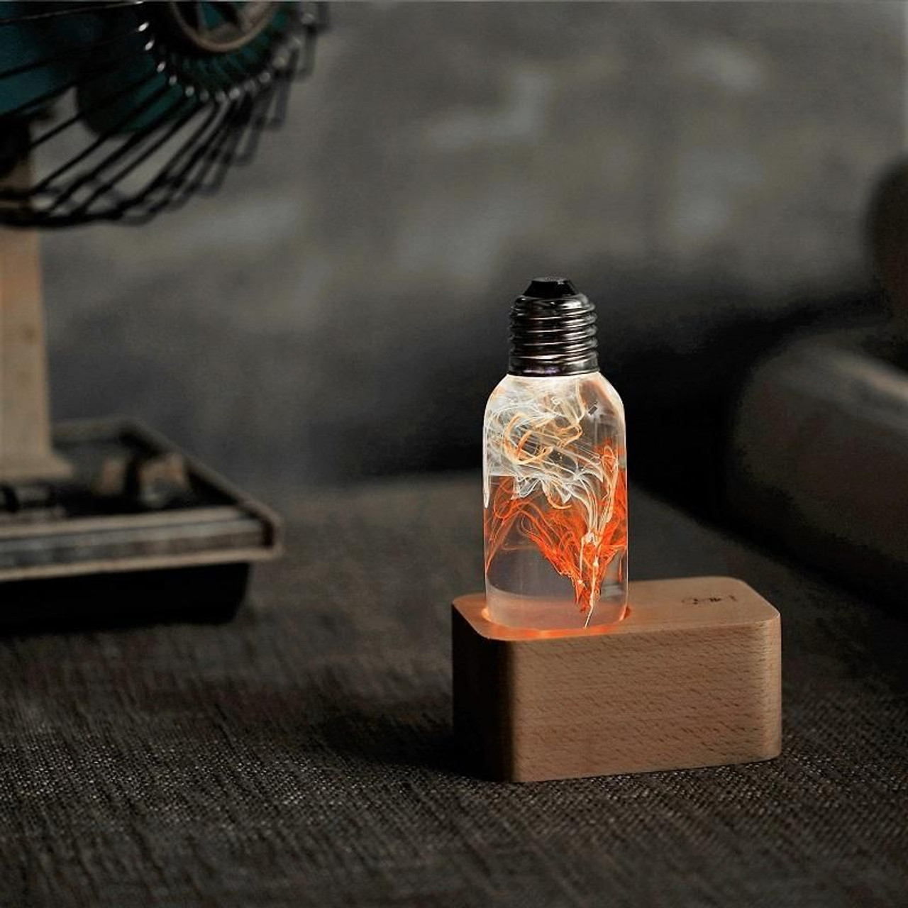 EP Light Tango Orange and White Bulb Art Fixture Lamp with Optional Modern or Vintage Base Stand