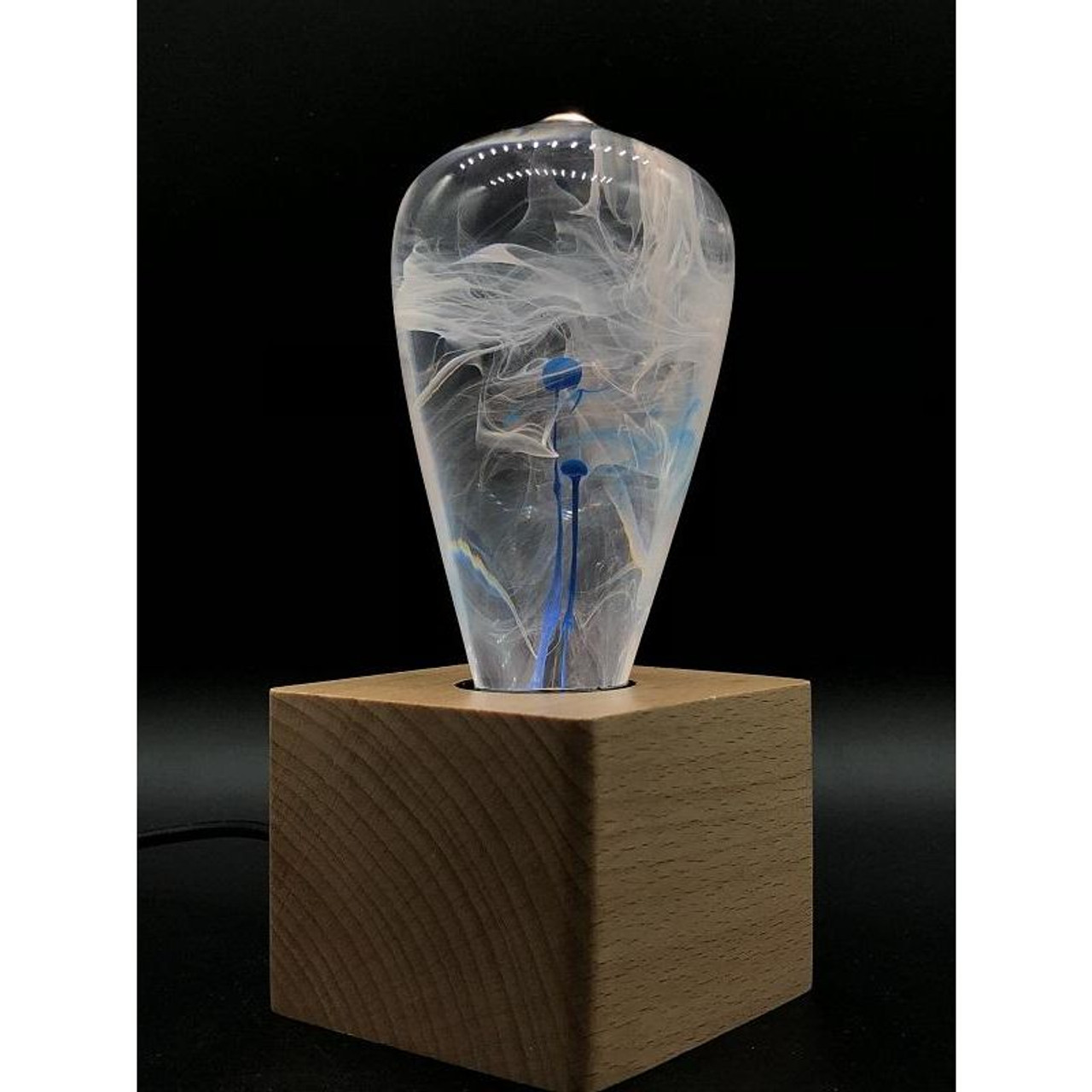 EP Light Blue Drop Bulb Art Fixture Lamp with Optional Modern or Vintage Base Stand