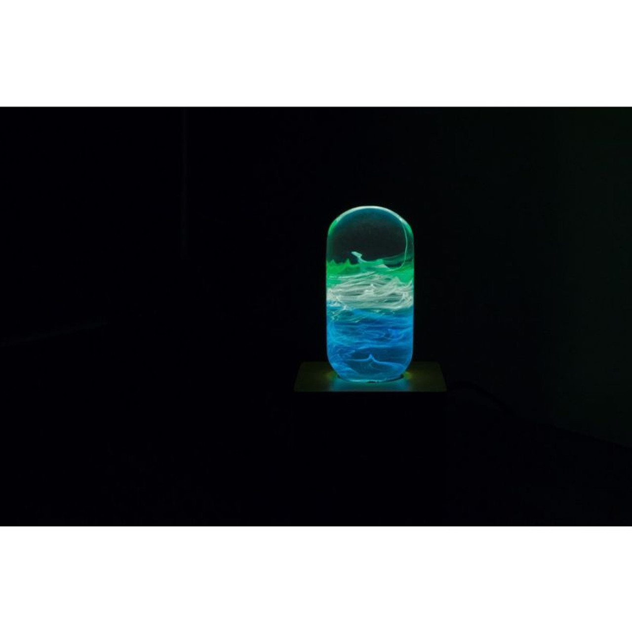 EP Light Prairie Green and Blue Bulb Art Fixture Lamp with Optional Modern or Vintage Base Stand