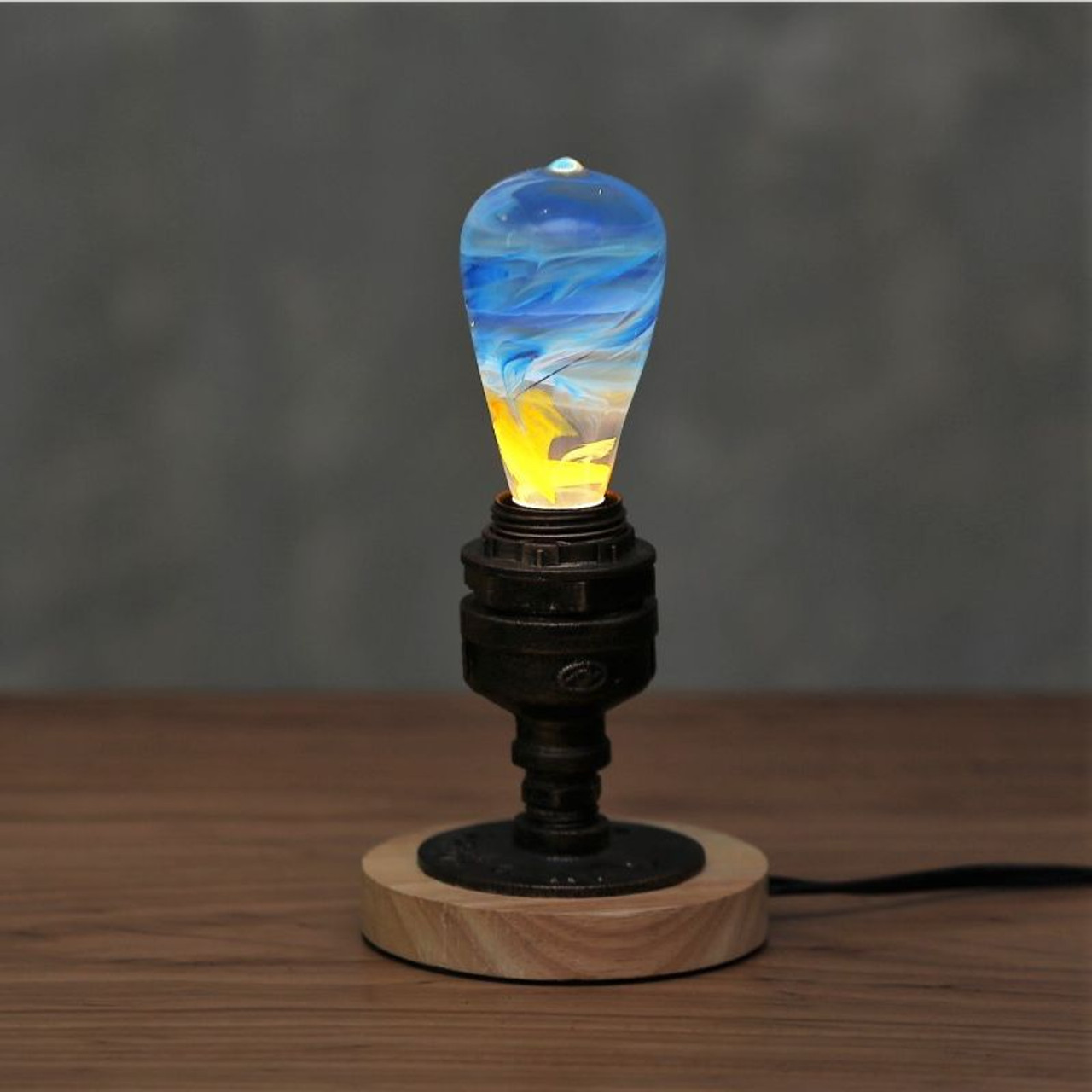 EP Light Fire Yellow and Blue Bulb Art Fixture Lamp with Optional Modern or Vintage Base Stand
