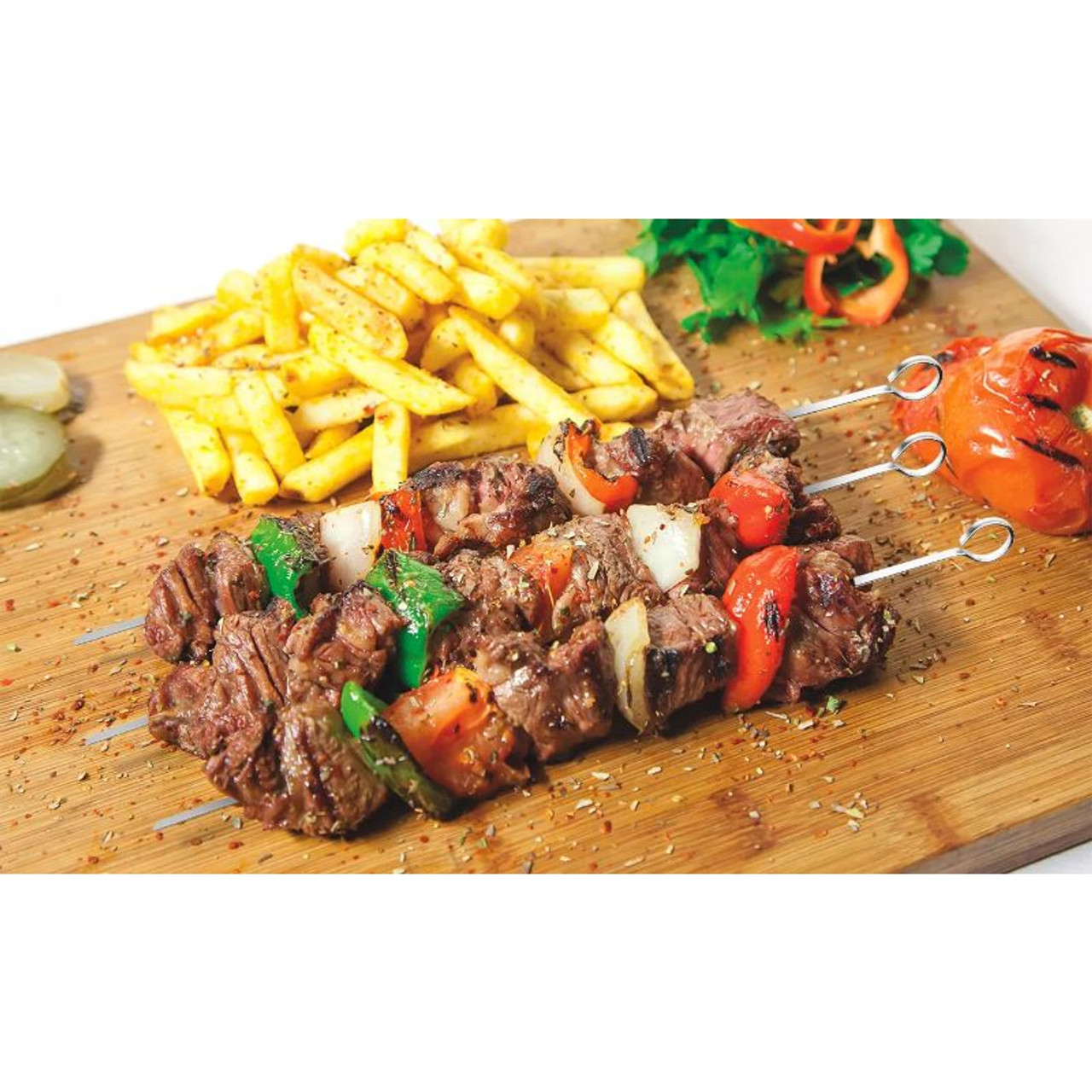 """16"""" Stainless Steel Flat BBQ Grilling Skewers - 10 Pack"""
