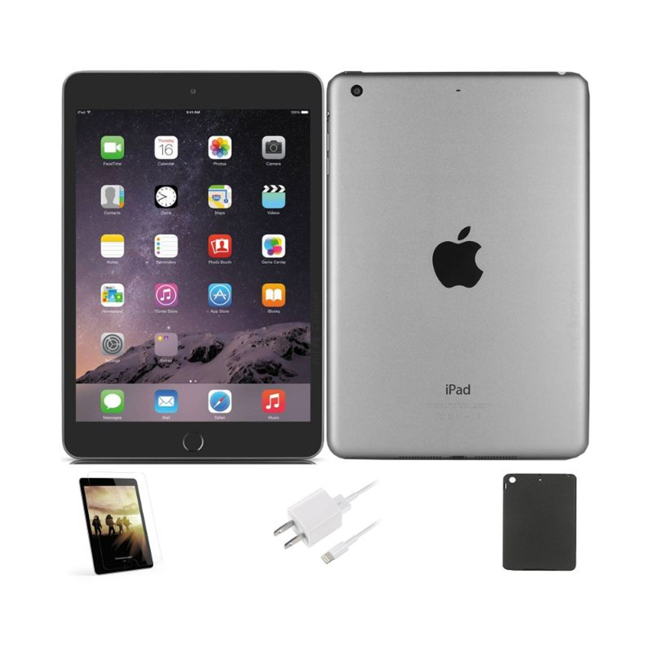 Apple iPad Mini 3 64GB, Wi-Fi Plus Cellular, Unlocked, Includes - Case, Screen Protector, Charger