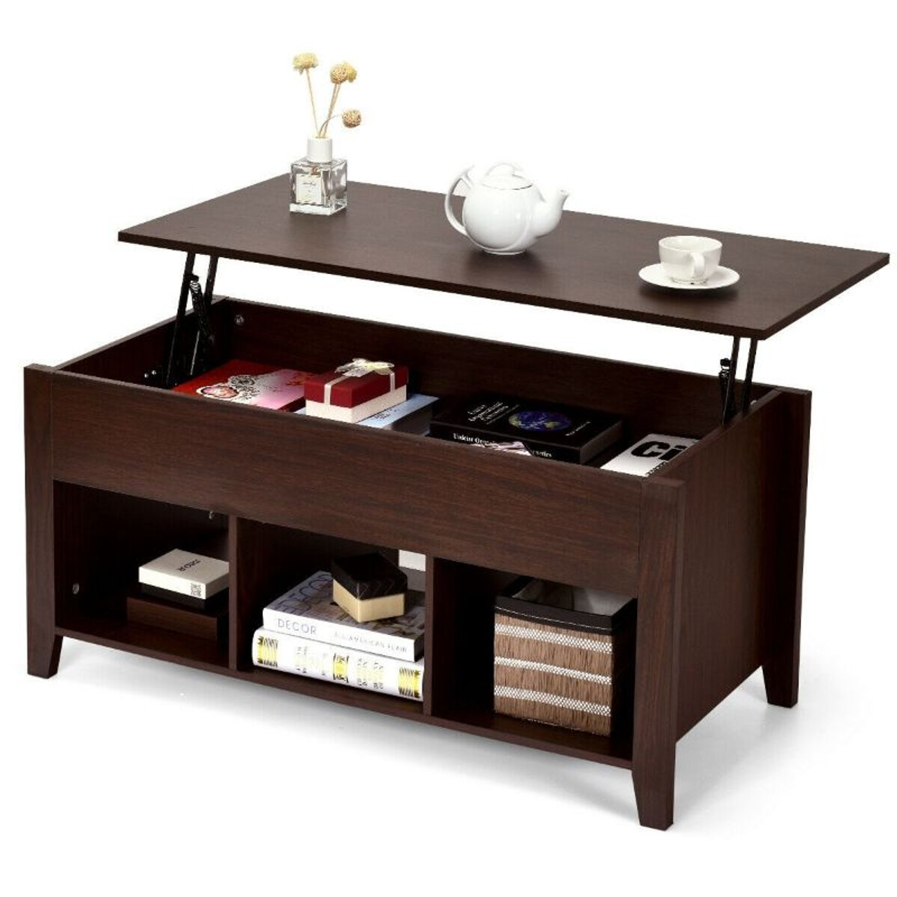 Lift Top Coffee Table with Storage Lower Shelf