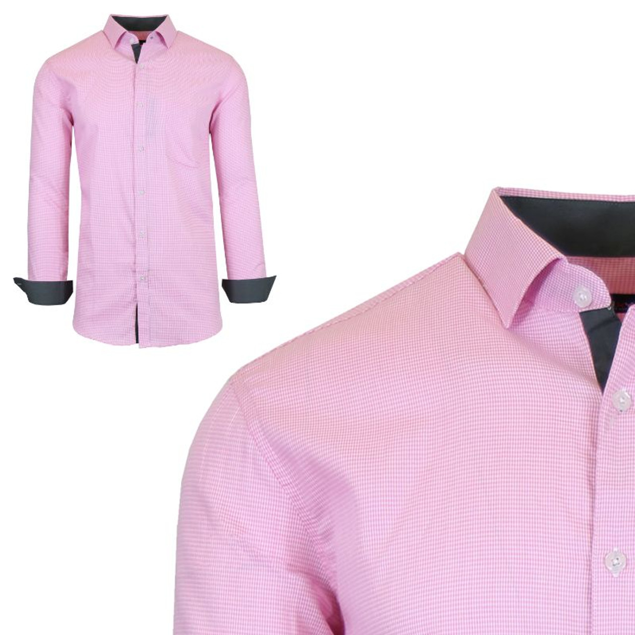 Men's Long Sleeve Slim-Fit Cotton Dress Shirts with Chest Pocket