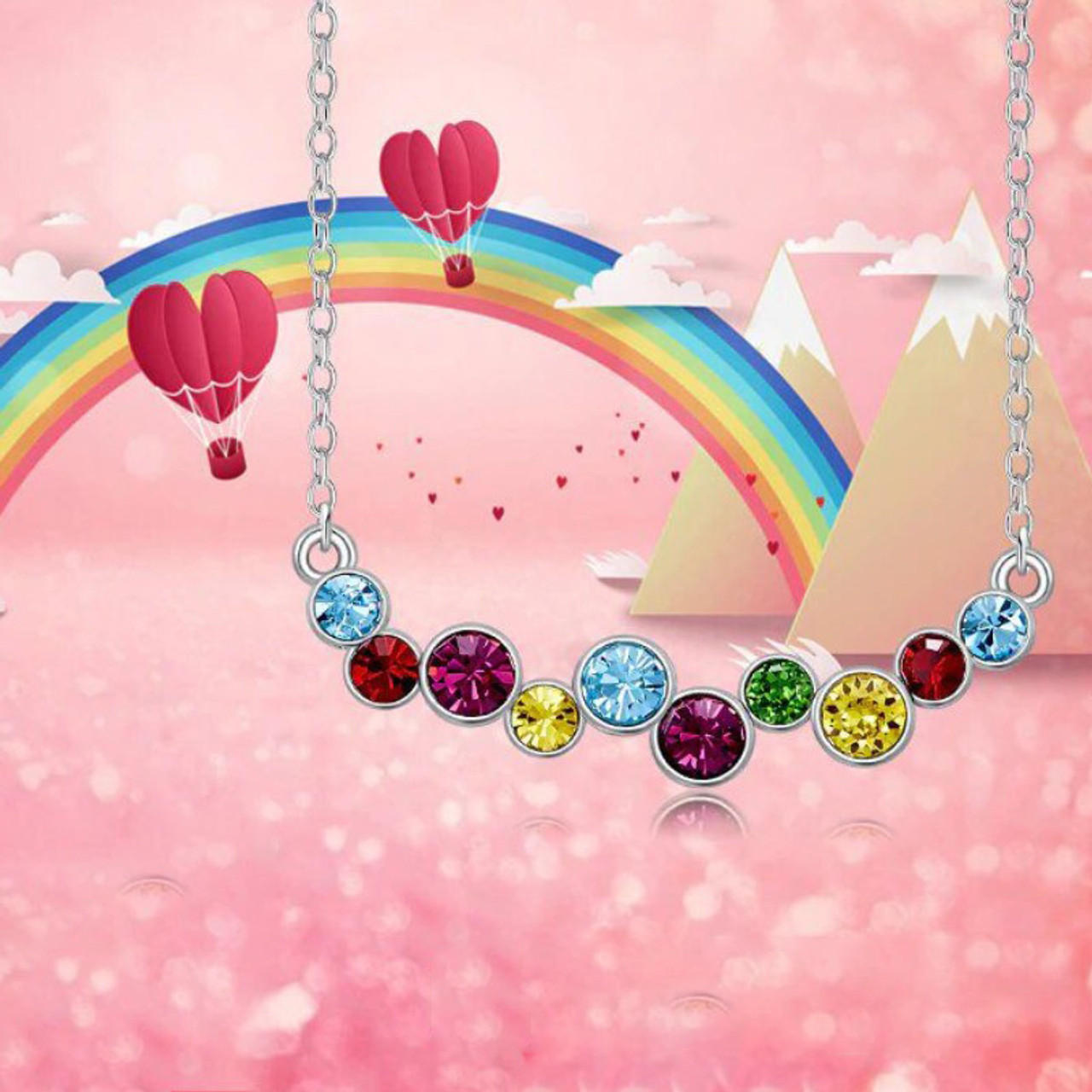 Rainbow Bubbles Necklace Made with Swarovski Crystals