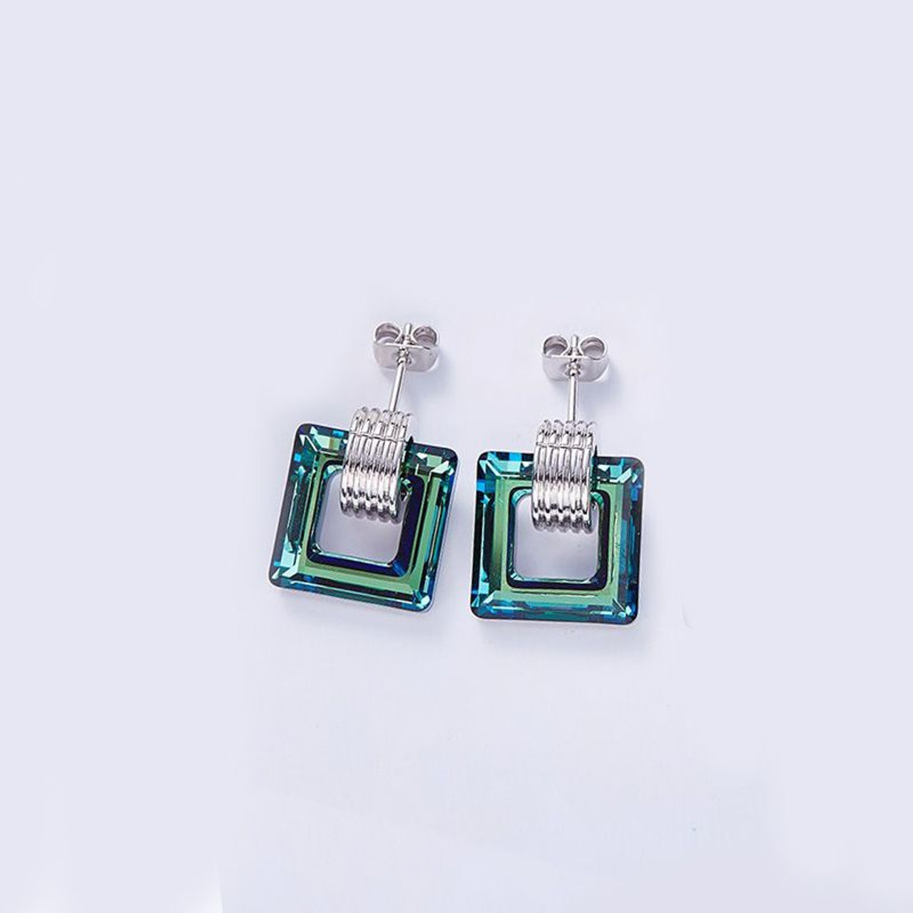 Aqua Water Square Stud Earrings Made with Swarovski Crystals