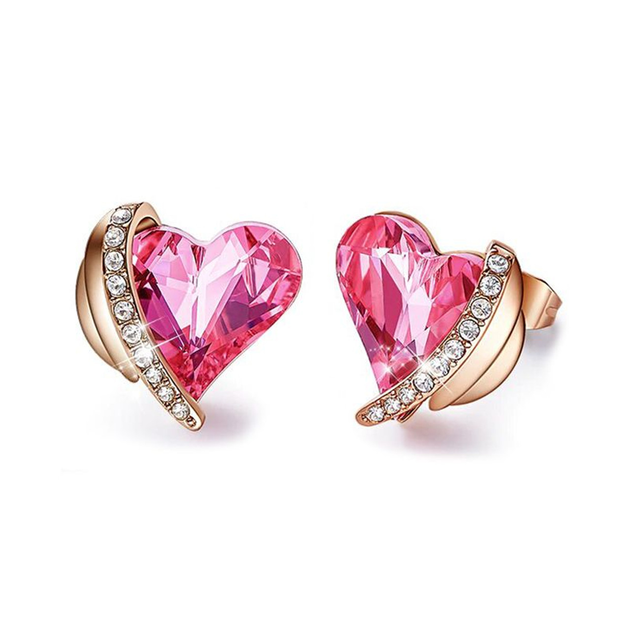 Pink Topaz Pave Heart Stud Earrings Made with Swarovski Crystals