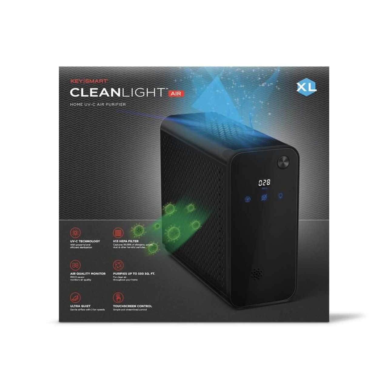 CleanLight Air XL Large Room UV Air Purifier with Air Quality Monitoring