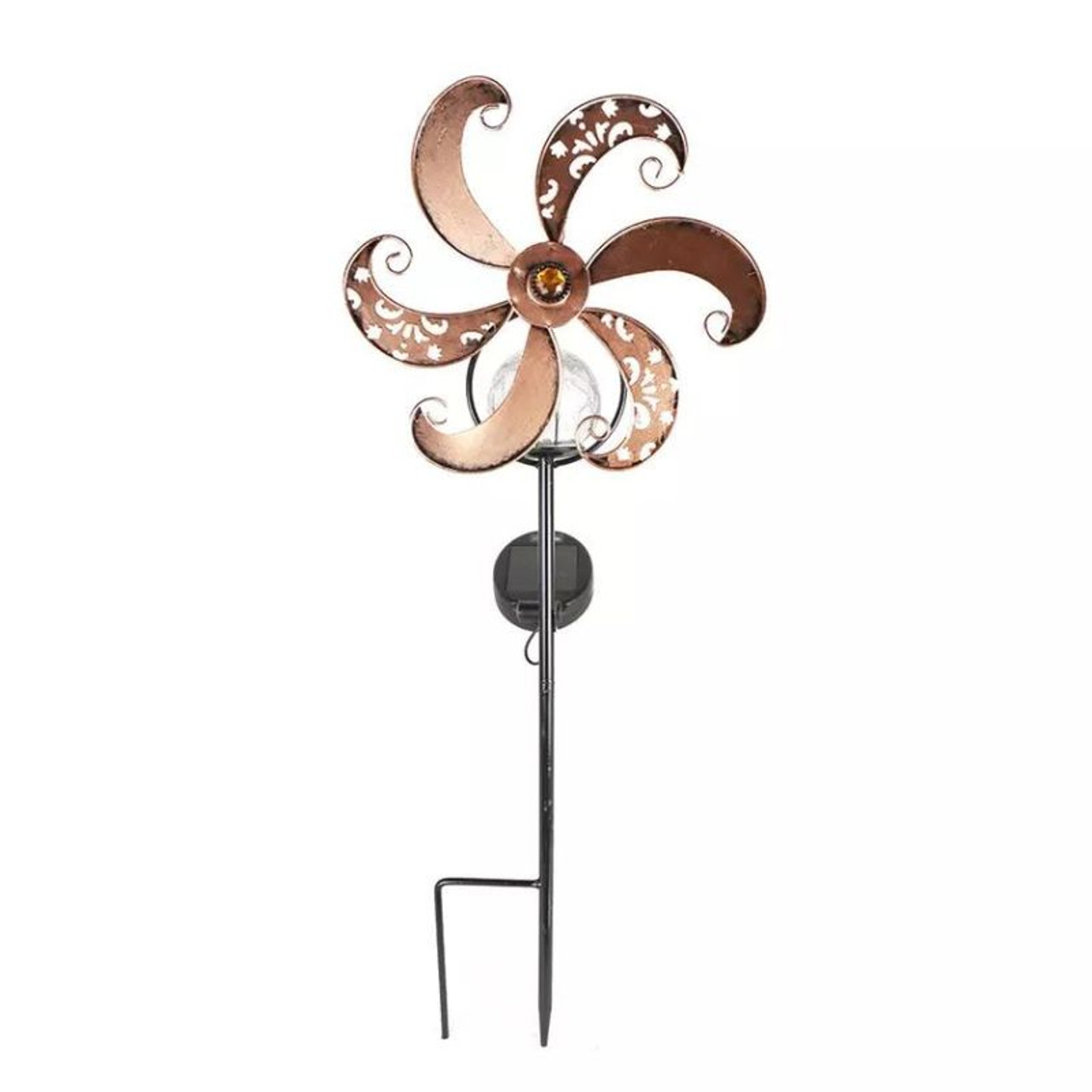 Solar LED Metal Wind Spinner Whimsy Whirl or Sun Spin - 1, 2 or 3 Pack