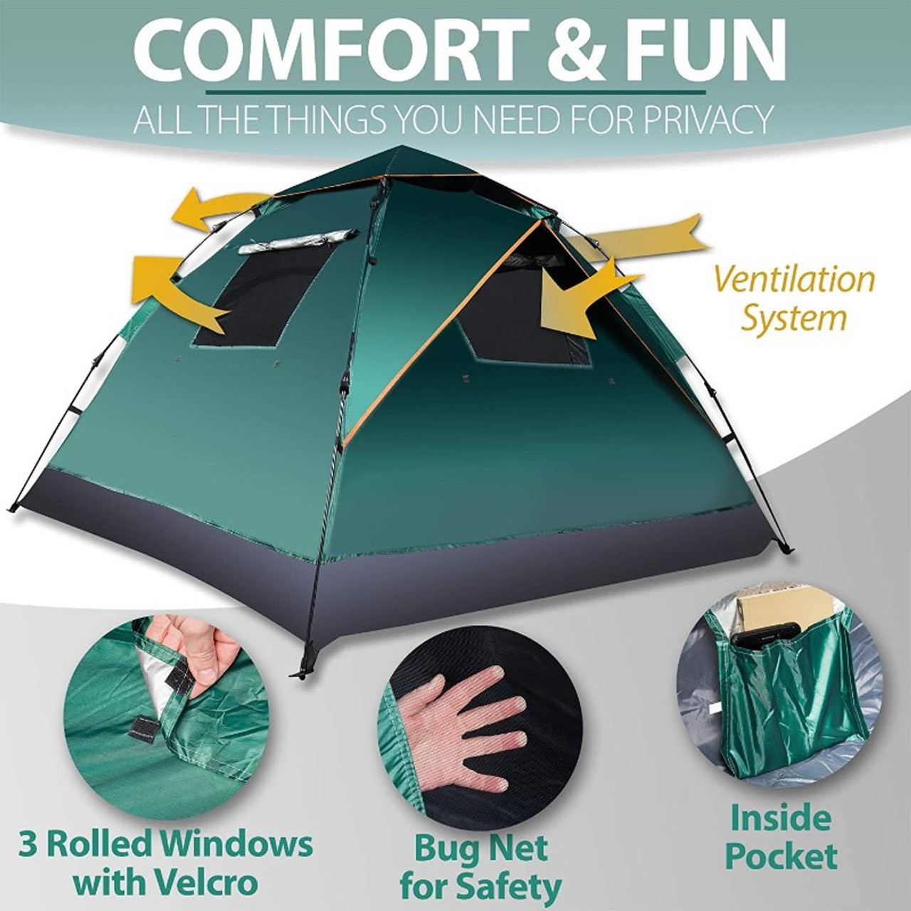Zone Tech 3 - 4 Person Instant Pop Up Tent – Portable Waterproof and Windproof