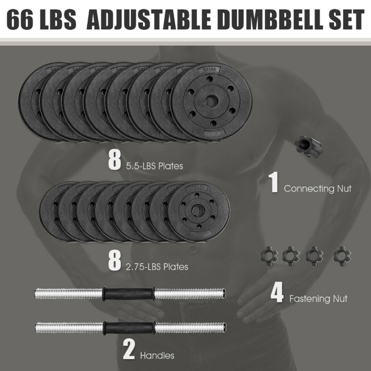 66 Lbs Fitness Dumbbell Weight Set with Adjustable Weight Plates and Handle