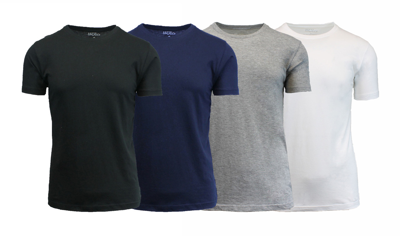 [4-Pack] Men's Short Sleeve Fitted Cotton Blend Tees