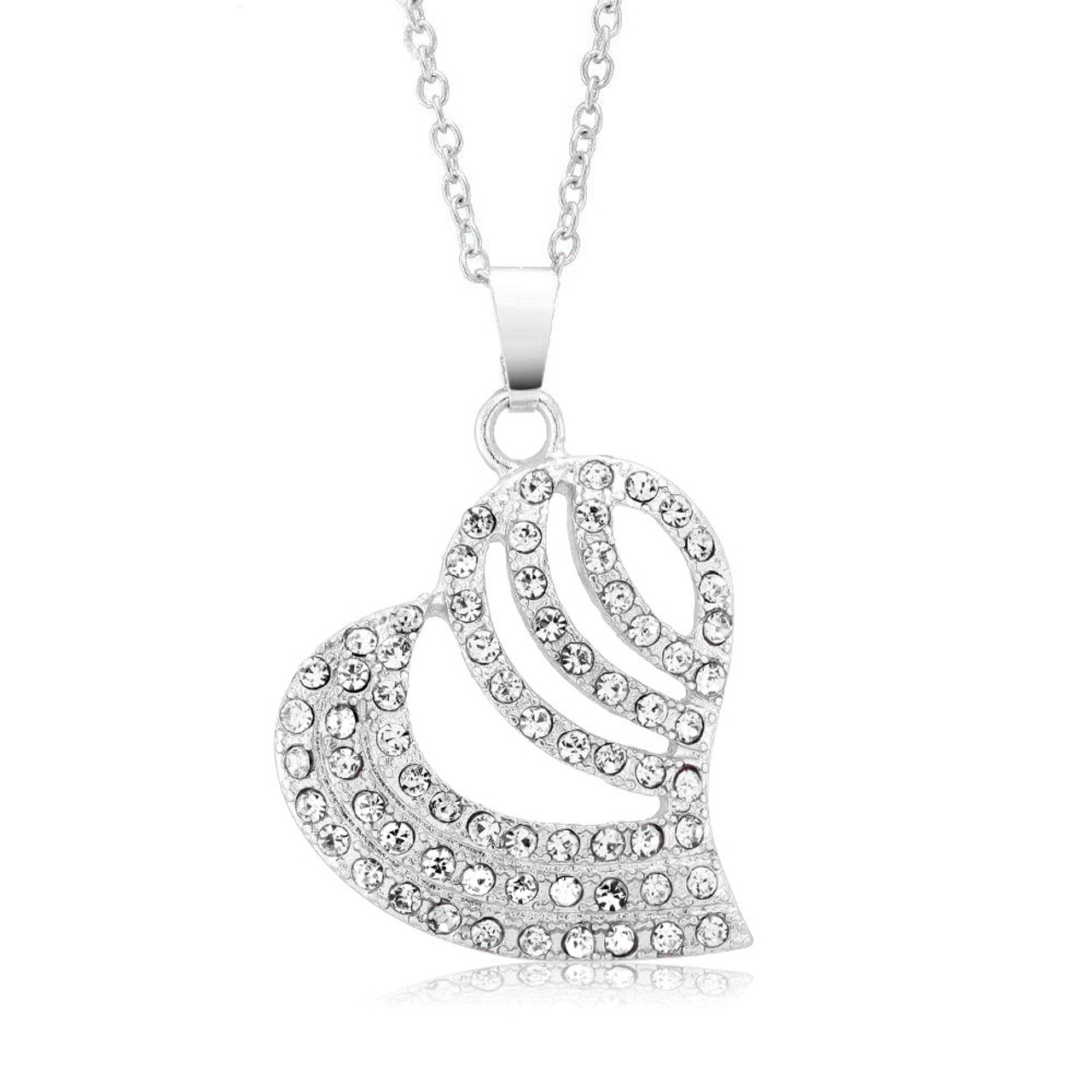 Crystal Gold Striped Heart Necklace