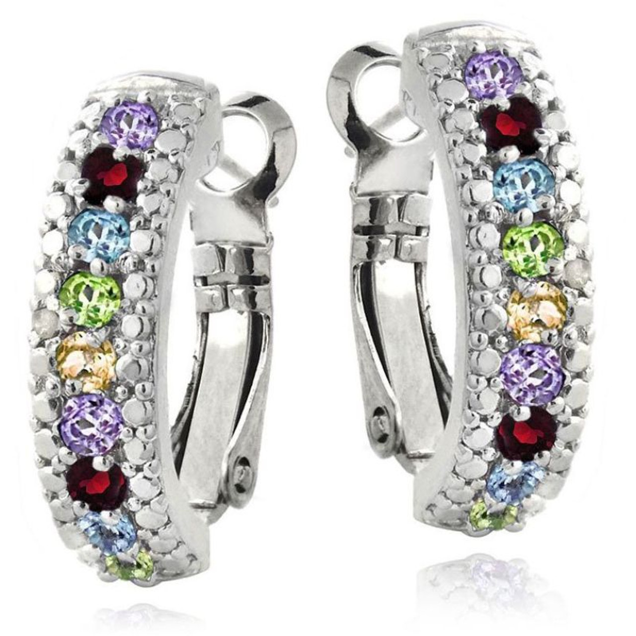 5.00 CTTW Ruby Lining Plated in 18K White Gold Earrings