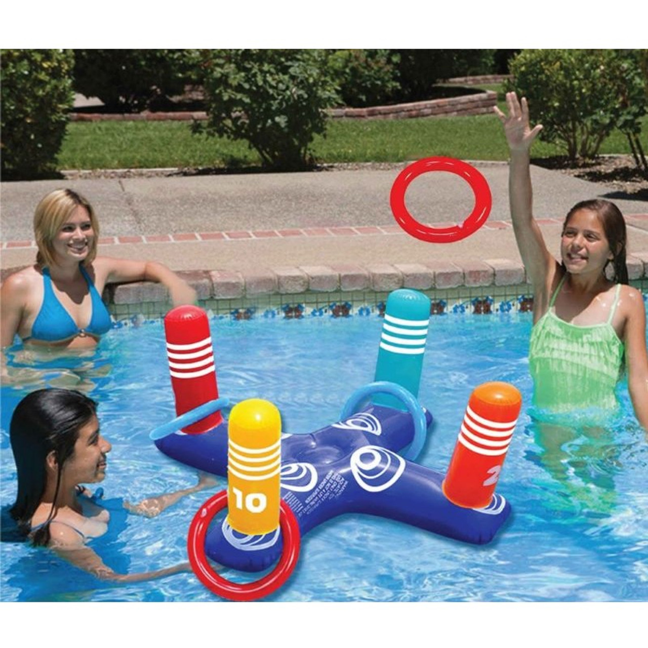 Multiplayer Pool Game Inflatable Pool Ring with 4 Pool Rings