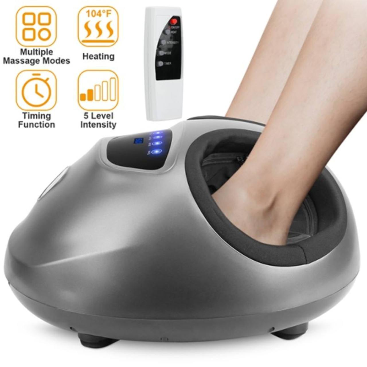 Electric Foot Massager with Heat, Deep-Kneading, and 5 Intensity Levels
