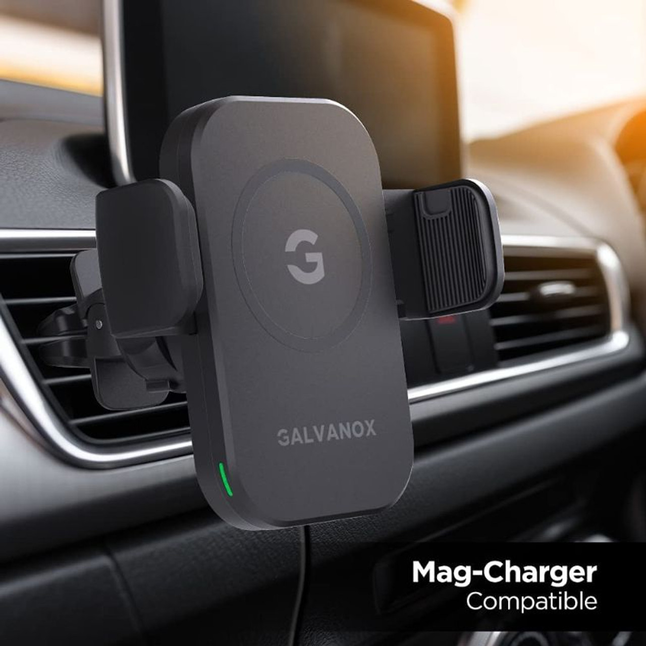 Galvanox Car Vent Mount Charger for MagSafe Cases, 15W Wireless Fast Charging for iPhone