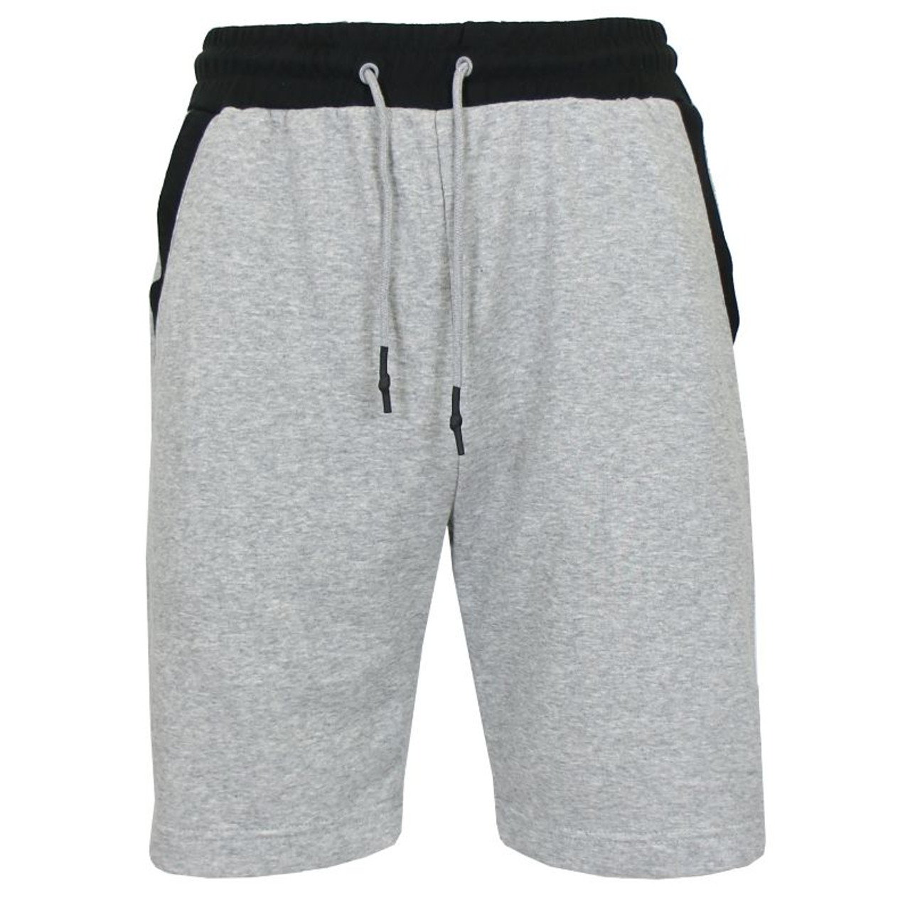 Men's French Terry Jogger Sweat Lounge Shorts With Contrast Color Trim Design