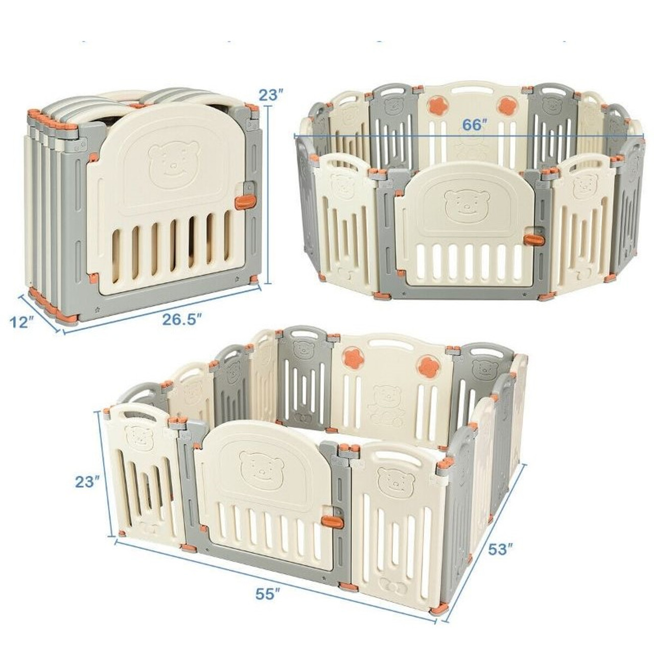 Foldable Baby Playpen Activity Safety Center with 14 Panels