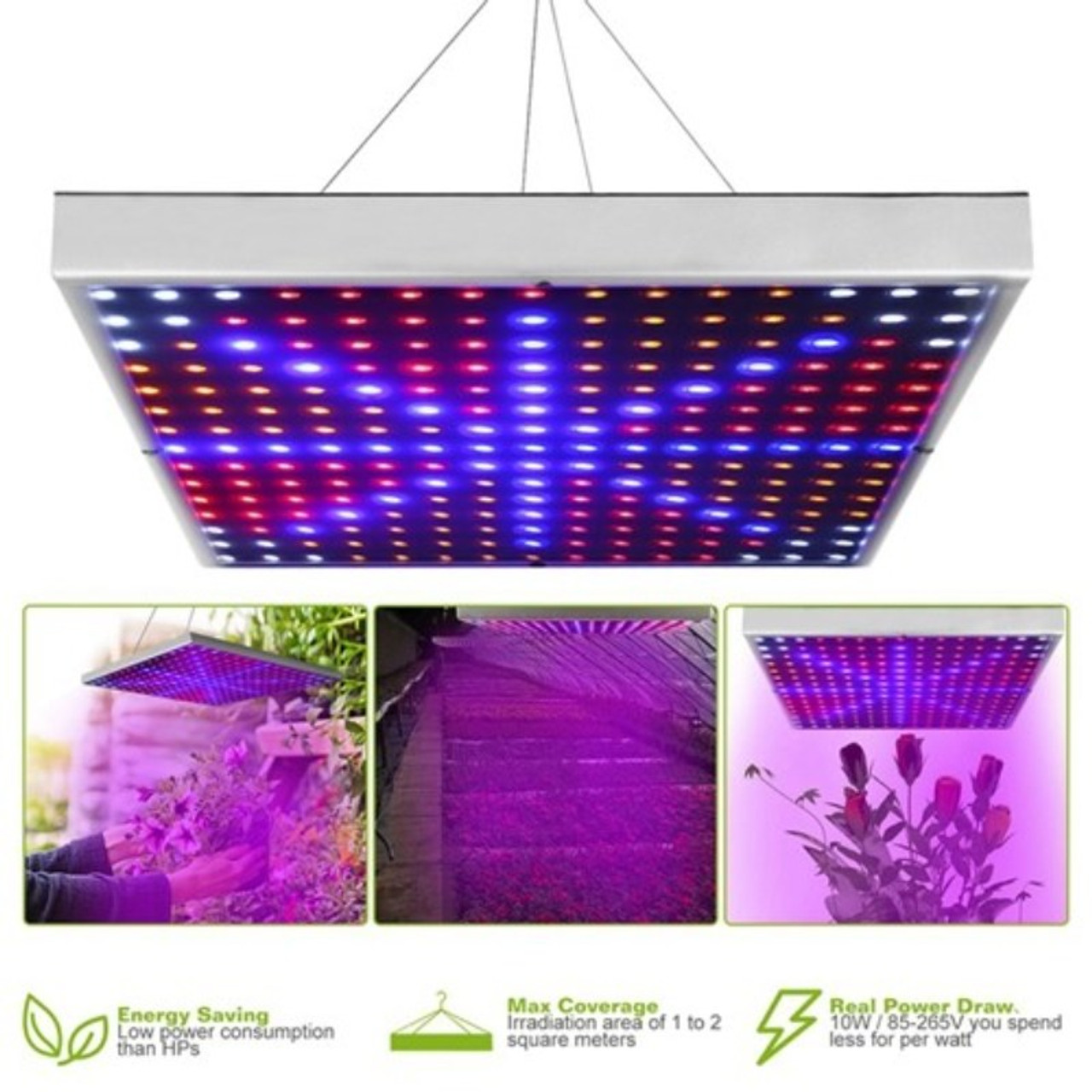 45W 225-LED Grow Light Panel with Rope Hanger