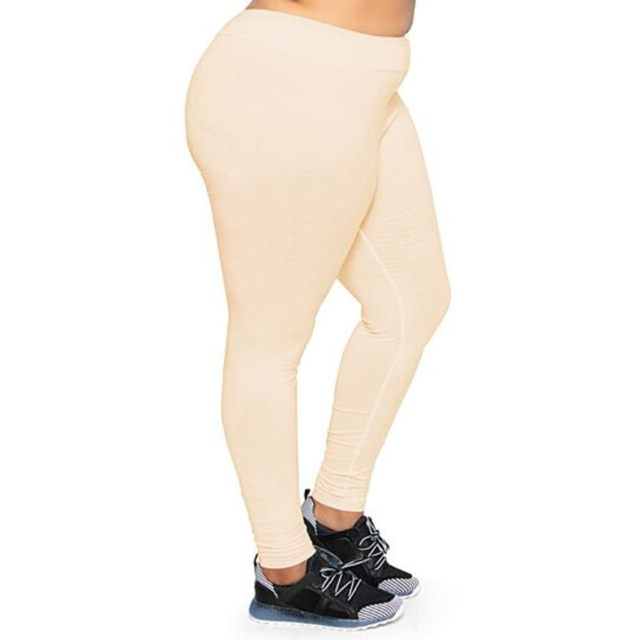 Plus Size Women's Ultra-Soft Stretchy Solid Yoga Leggings - 4 Pack