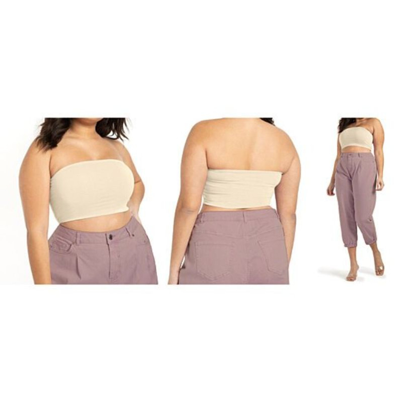 Women's Seamless Strapless Bandeau Crop Tube Top Bralettes - 3 Pack