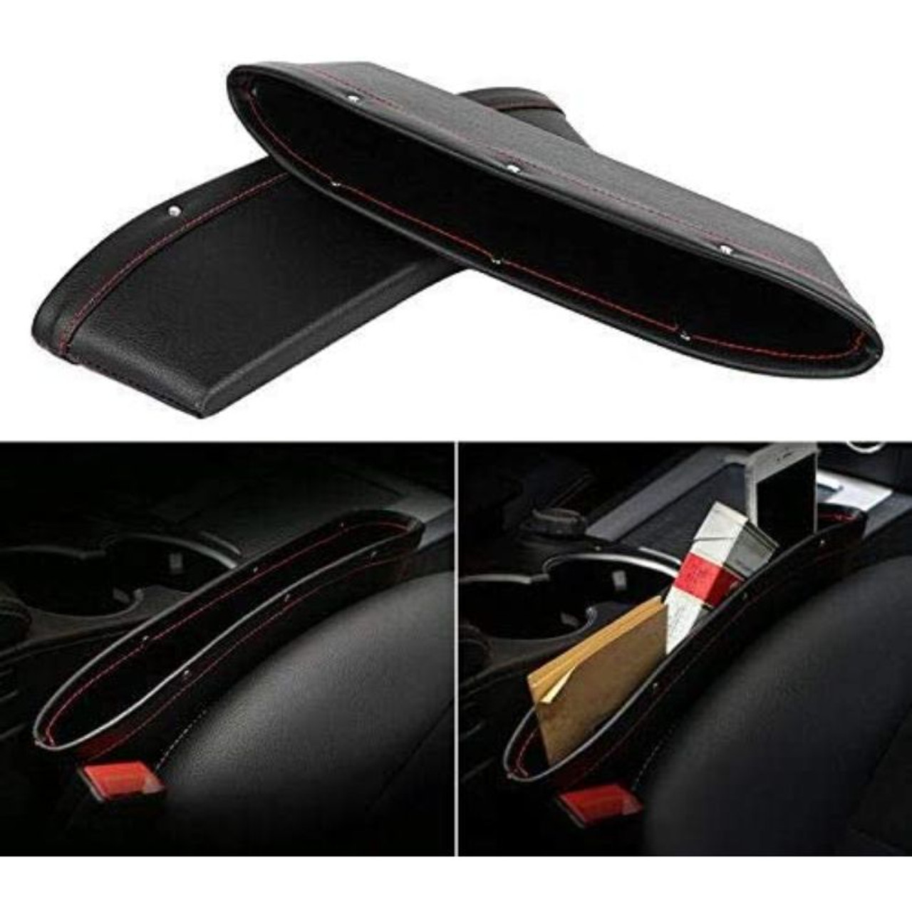 Leather Car Seat Organizer for Phones, Sunglasses, or Keys - 2 Pack